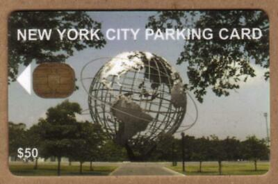 $50. NYC Parking Card: Unisphere Earth Globe. Chip #2 USED Smart Card
