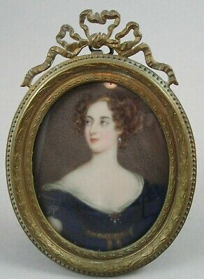 19th Century Hand Painted Miniature Portrait of Beautiful Lady / Woman