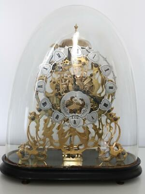 ANTIQUE SKELETON CLOCK twin fusee bell striking DATE DIAL & GLASS DOME working