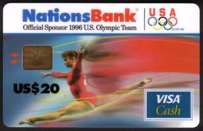 $20. & 50. 1996 Olympics VISA Cash: Ribbons of Color Matched Set of 2 Smart Card