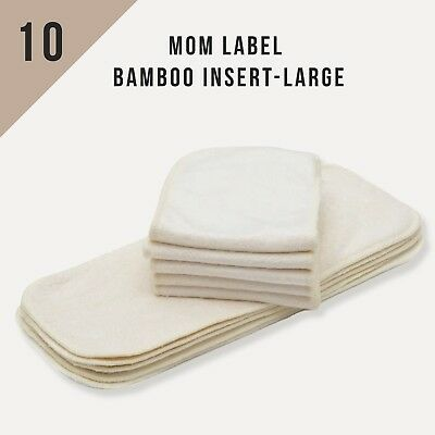 KaWaii Baby 10-Pack Mom Label Bamboo Inserts for One Size Cloth Diaper Slim Fit