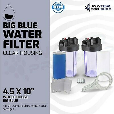 """2 Stage 10"""" Big Blue Clear Housing -1"""" Outlet/Inlet For Whole House Water Filter"""
