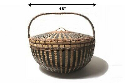 "VINTAGE 18"" 1940's CHINESE BAMBOO & CANE HAND WEAVED BASKET w LID NAME on HANDLE"