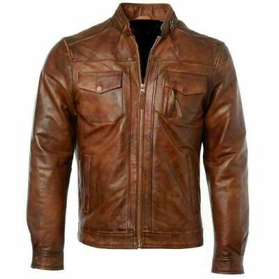 Retro Soft Edge Design Stretchy Mens Brown Real Leather Western Jacket By Lizaz
