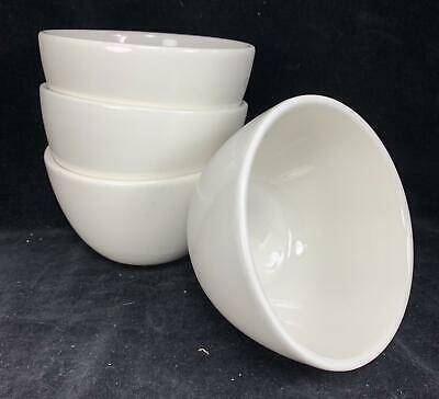 """Set of 4 WHITE Pottery Barn Sausalito Soup Coupe Cereal 3.75"""" x 6"""" Bowls AS IS"""