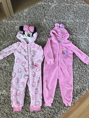Baby Girls Onsies Minnie/Peppa Fleece Cosy Sleepsuit 12-18