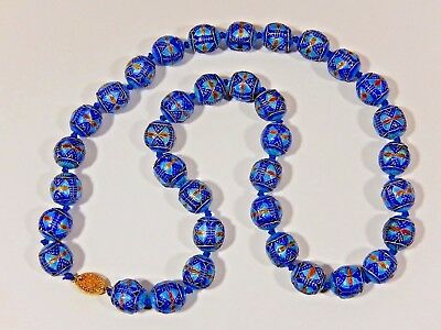 "RARE ANTIQUE CHINESE EXPORT KNOTTED ENAMELED STERLING 16mm BEAD 27"" NECKLACE"