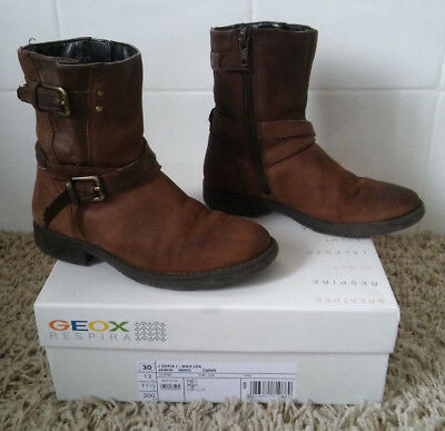 30 Geox Marron Bottes Pointure Bottines Fille Cuir Boots hrdstQ