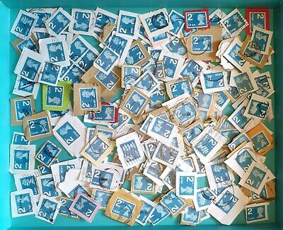 200 2Nd Class Large Letter Blue Security Used Stamps On Paper.