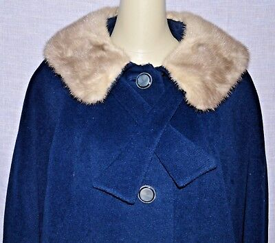 Evans Chicago Hand Crafted Vintage Sz Pm Petite Medium Blue Wool Real Fur Coat