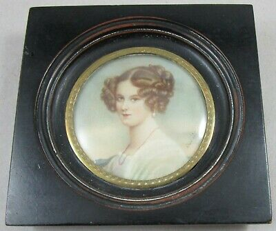 19th Century Hand Painted Miniature Portrait of Beautiful Woman - Signed DuBois