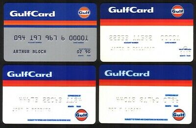 Gulf Oil Corp GulfCard Credit Cards: 1984-1990. Group of 4 Different Designs