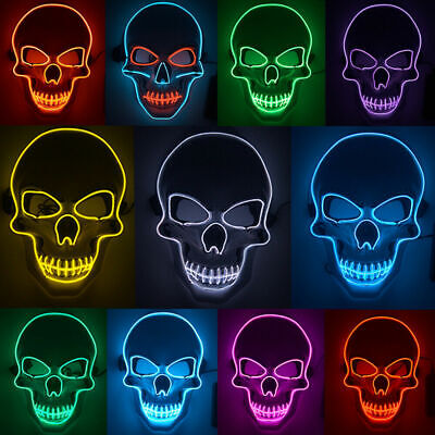 Halloween Mask LED Light Up Scary Skull Mask Costume Cosplay EL Wire Party