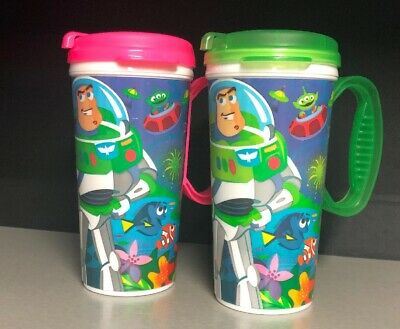 2 Disney World Resort Whirley Travel Mug Cup Toy Story Cars LOT FREE SHIPPING
