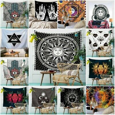 Psychedelic Moon and Sun Tapestry Wall Hanging Beach Towel Art Dorm Home Decor
