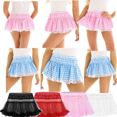 Womens Mens Sissy Lace Short Skirt Pleated Mini Skirt Girls School Tennis Skirts