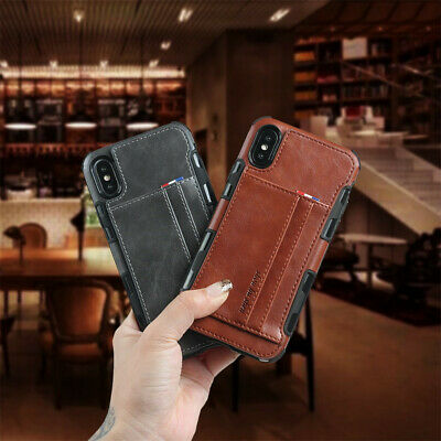 Leather Credit Card Slot Case For iPhone 11 Pro Max XS Max 11 Samsung Note10 Pro