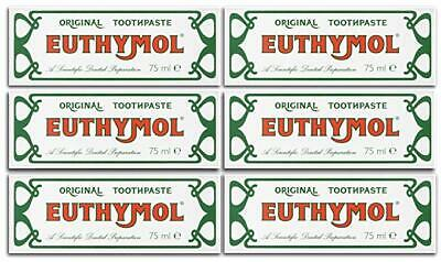 Euthymol Toothpaste Original Anti Plaque Teeth and Gums Oral Care 75ml x 6 Pack