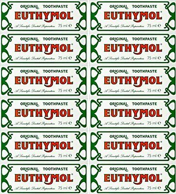 Euthymol Toothpaste Original Anti Plaque Teeth and Gums Oral Care 75ml x 12 Pack