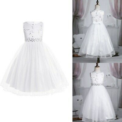 Girls Lace Flower Girl Dress Princess Pageant Wedding Bridesmaid Party Tutu Gown