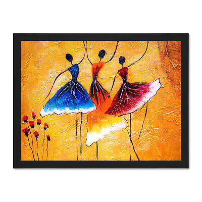 Ballet Dancers Painting Framed Wall Art Print 18X24 In