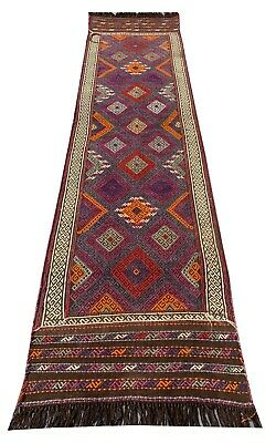 "New Hand Knotted Afghan Suzani 7'10"" x 2'0"" Kilim Wool Area Runner Rug (3030)"