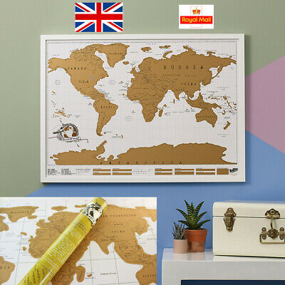 Scratch Off World Map Poster Personalized Travel Vacation Log Gift Large Size