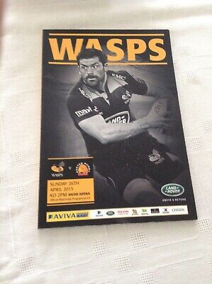 Rugby  Union Programme Wasps V Exeter 26 4 15