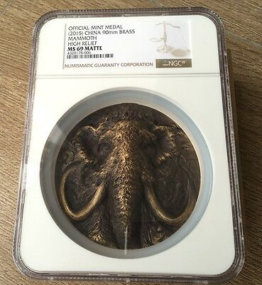 2015 Shanghai Mint Prehistoric Animals Mammoth Brass Coin Medal,NGC69! 90mm