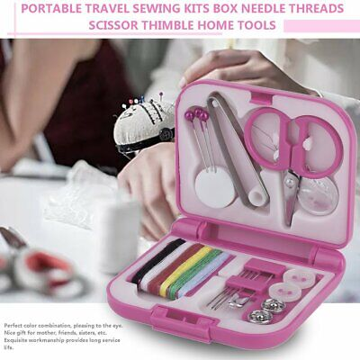 Portable Travel Sewing Kits Box Needle Threads Scissor Thimble Home Tools#G