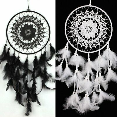 MS6003 Creative Natural Feather Dream Catcher Wall Hanging Ornament Craft Gift#G
