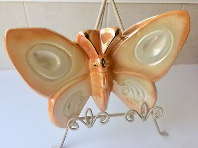 Vintage Butterfly Wall Pocket Vase - Australian Pottery - Stamped - 1950's
