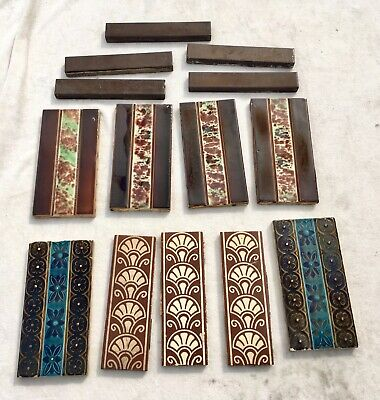 Collection Of Antique Victorian Border Edging Tiles Inc Maw & Co