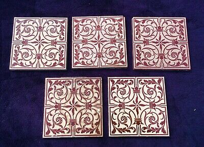 5 x ANTIQUE VICTORIAN GLAZED GEOMETRIC TILES MAW & CO JACKFIELD - LOT 11