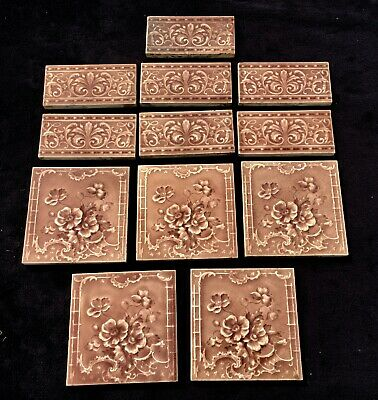 "12 x ANTIQUE VICTORIAN MINTON DOG ROSE TILES 5x 6"" x 6"" + 7x BORDER TILES LOT 5"
