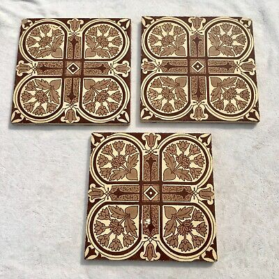 3 x ANTIQUE VICTORIAN GLAZED GEOMETRIC MORRIS STYLE TILES MAW & CO ? - LOT 10