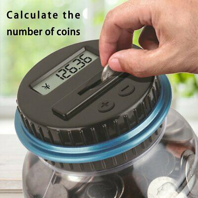 Large Piggy Bank Counter Electronic Digital LCD Counting Coin Saving Box Jar#G
