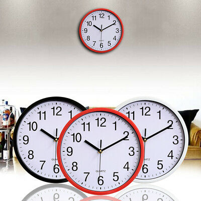 10 Silent Sweep Non-Ticking Round Wall Clock Black/White/.Red Office House Dec