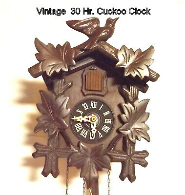 Vintage 30 Hour foreign made Cuckoo Clock, weight driven, Running