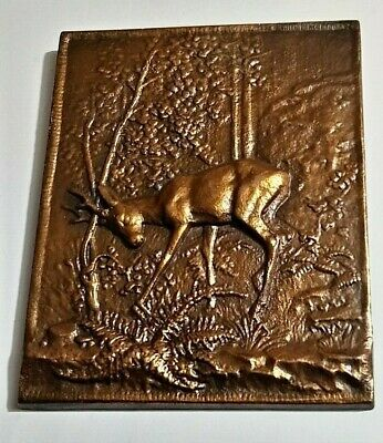 Old Vintage Brass Plaque Deer Scene