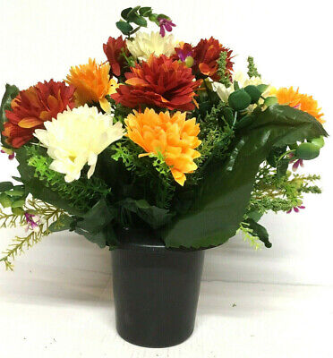 Autumn Orange White💐Artificial Silk Flower Grave Memorial Funeral Crem Pot