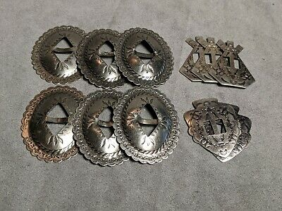 Slotted Conchos Lot Belt Hat Bolo Leathercraft Saddle Concho Native American