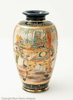 Antique Japanese Satsuma Ware Moriage Vase with Samurai Warriors