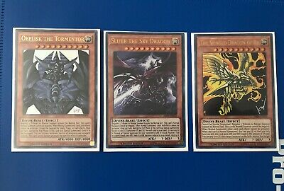 YuGiOh God Cards: Slifer, Obelisk, + Ra Ultra Rare Limited JMPS-EN004/5/6 NM/M