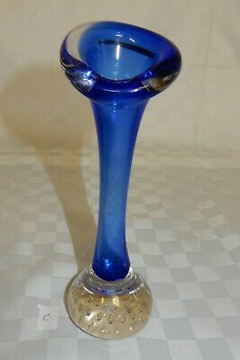 Murano Blue Controlled Bubble Base Bud Vase 18.5 cm  (C)
