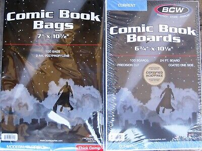 (200) Bcw Thick Current / Modern Comic Book Size Bags / Covers & Backing Boards
