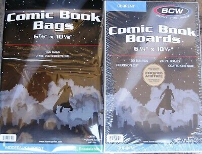 (200) Bcw Resealable Current / Modern Comic Book Size Bags & Backing Boards