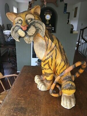 Rare Vintage 1964 Esso Enco Tiger Huge Advertising Display Paper Mache Figure