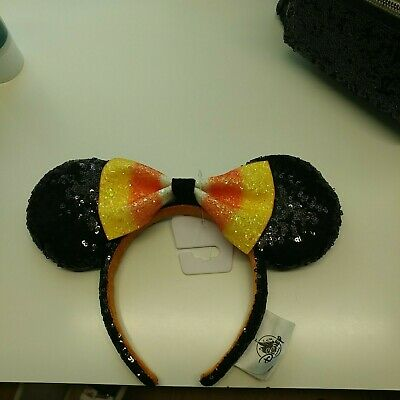 NEW Disney Parks 2019 Halloween Candy Corn Bow Minnie Mouse Ears Headband NWT