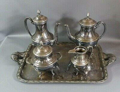 Art Nouveau French Silver-plate Tea Serving Set Tray Coffee Pitcher Pot Bowl